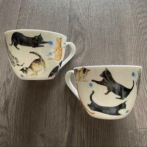 Set of 2 - Playful Cats - Bone China Mugs